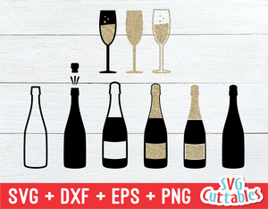 Champagne Bottles and Glasses | Cut File