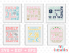 Baby Birth Announcement Bundle #1, svg Cut Files
