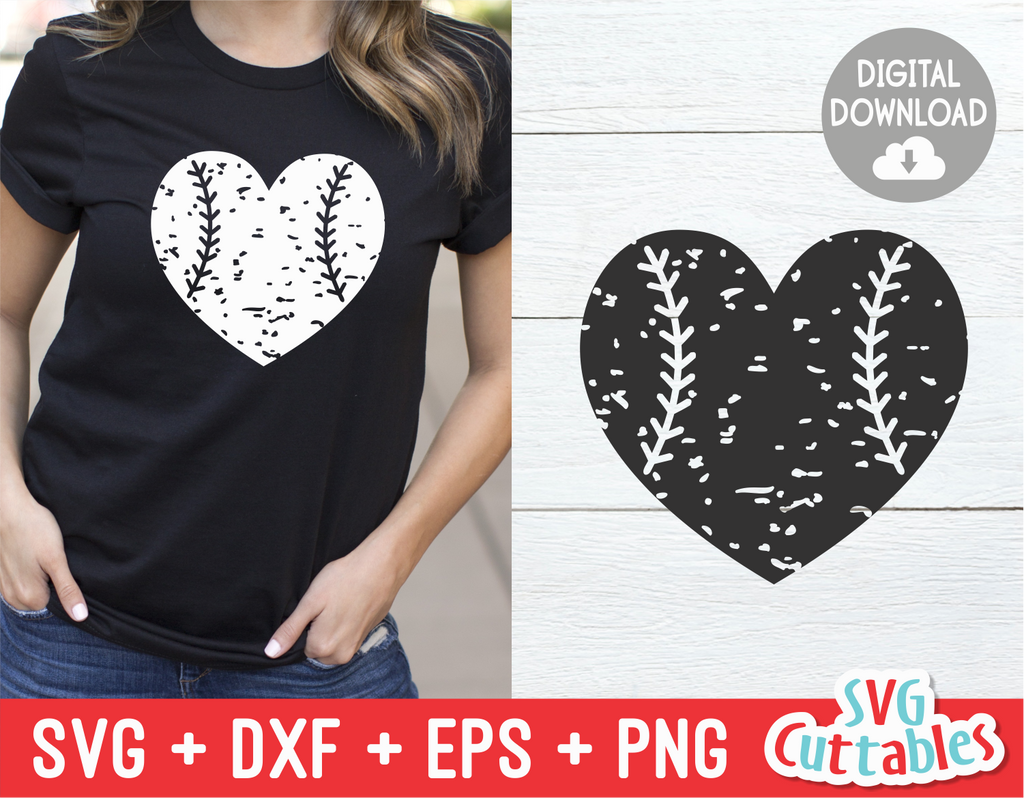 Distressed Baseball heart, Distressed Softball heart