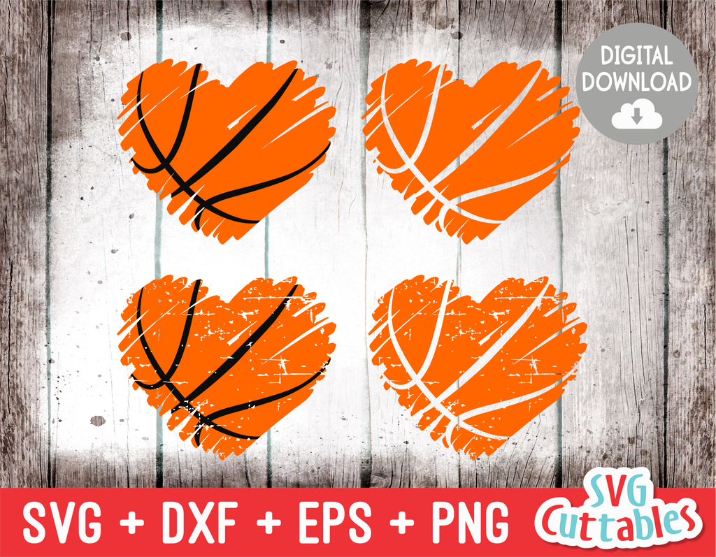 Basketball Heart Brush Strokes | SVG Cut File