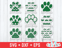 Bearcats Patterned Paw Print, svg cut file