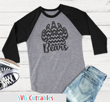 Bears Patterned Paw Print, svg cut file