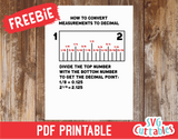 How to convert measurements to decimals  | PDF Printable