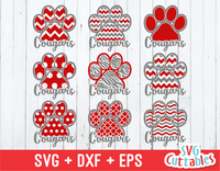 Cougars Patterned Paw Prints svg cut file
