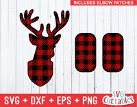 Deer head plaid, buffalo plaid deer, svg cut file