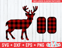 Deer plaid svg, buffalo plaid deer, plaid elbow patches, svg cut file