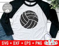 Distressed Volleyball, Grunge Volleyball, svg cut file
