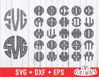 Distressed Circle monogram font, Circle Alphabet Vector
