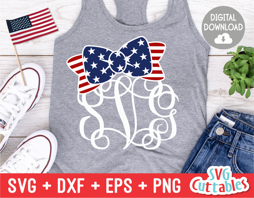American Flag Bow | Monogram Frame | SVG Cut File