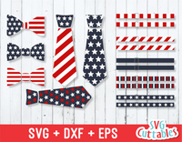 Fourth of July Tie, Bow Tie, Suspenders, July 4th Vector