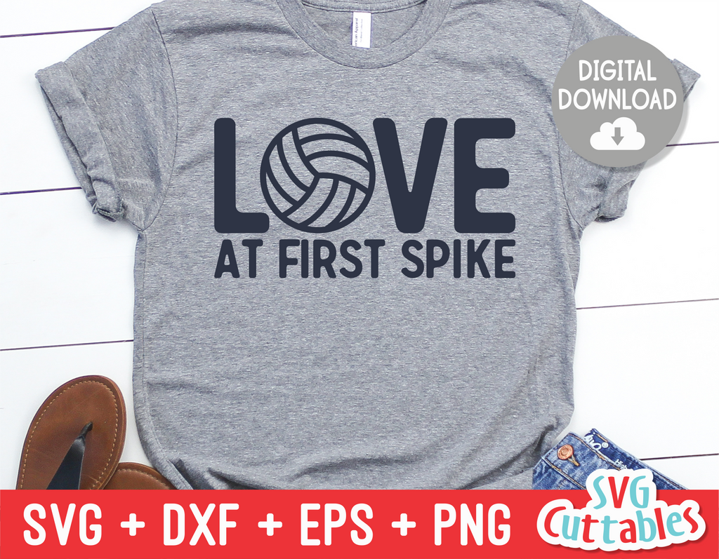 Love at First Spike | Volleyball SVG Cut File