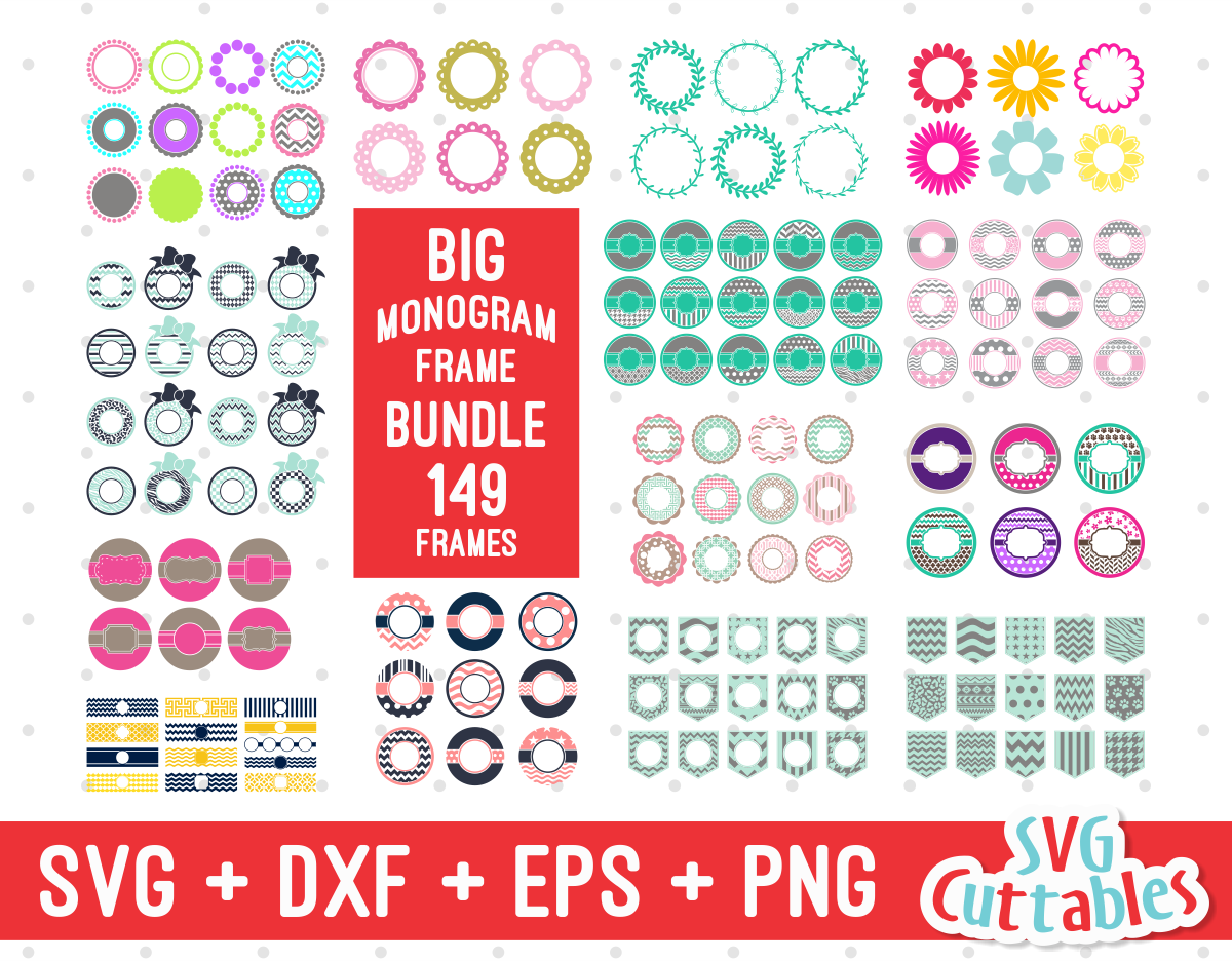 Big Monogram Frame Bundle Of 149 Frames Svgcuttablefiles