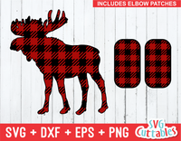 Moose svg, buffalo plaid moose, plaid elbow patches, svg cut file