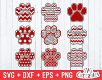 Paw Prints patterned, svg cut file
