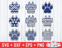 Paw Prints with claws patterned, svg cut file