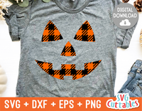 Plaid Pumpkin Face| Halloween SVG Cut File