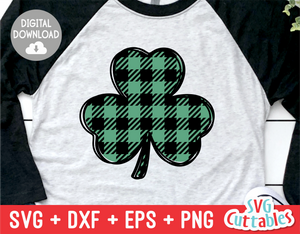Plaid Scribble Shamrock  | St. Patrick's Day Cut File