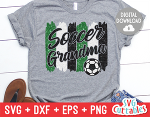 Soccer Grandma svg - Soccer Cut File - svg - eps - dxf - png - Brush Strokes - Silhouette - Cricut - Digital Download
