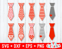 Valentines Day Ties set of 10