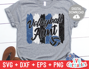 Volleyball Aunt svg - Volleyball svg - Volleyball Cut File - svg - eps - dxf - png - Brush Strokes - Silhouette - Cricut - Digital File