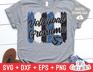 Volleyball Grandma svg - Volleyball svg - Volleyball Cut File - svg - eps - dxf - png - Brush Strokes - Silhouette - Cricut - Digital File