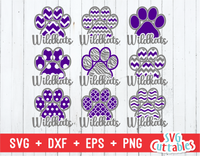 Wildkats Patterned Paw Print, svg cut file