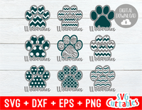 Wolverines Patterned Paw Print |  Cut File