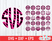 Circle Monogram Font, Zebra Pattern, Alphabet
