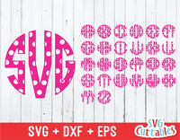 Circle Monogram Polka Dot Font, Circle Alphabet