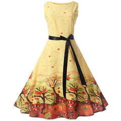 Sashes Decoration O-Neck Vintage Style Dress For Women - A3