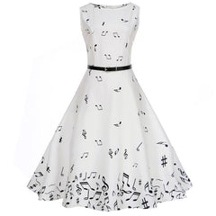 Sashes Decoration O-Neck Vintage Style Dress For Women - A4