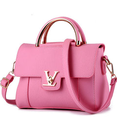 Letter Lock Appliques Decoration PU Leather Shoulder Hand Bag For Women - Pink