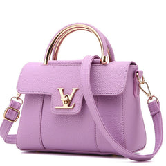 Letter Lock Appliques Decoration PU Leather Shoulder Hand Bag For Women - Purple