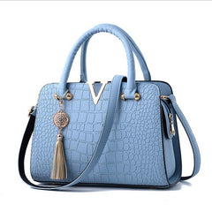 Alligator Pattern Zipper Closure Tassel Decoration Genuine Leather Shoulder Hand Bag For Women - Blue