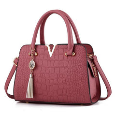 Alligator Pattern Zipper Closure Tassel Decoration Genuine Leather Shoulder Hand Bag For Women - Red