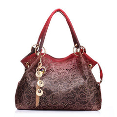 Hollow Out Tassel Decoration Zipper Closure Solid Pattern Shoulder Hand Bag For Women
