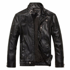 Solid Pattern & Color Style Mandarin Collar Conventional Cuff Style Faux Leather Casual Outwear Bikers Jackets Coats For Men- Strap Black