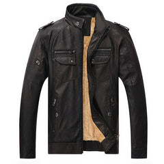 Solid Pattern PU Leather Polyester Fabric Zipper Closure Leather Jacket For Men