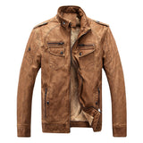 Leather & Suede Type Outwear Mandarin Collar Solid Pattern PU Leather Polyester Fabric Zipper Closure Wide-waisted Leather Jackets Coats For Men- Brown