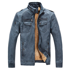Leather & Suede Type Outwear Mandarin Collar Solid Pattern PU Leather Polyester Fabric Zipper Closure Wide-waisted Leather Jackets Coats For Men- Deep Blue