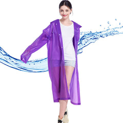 Solid Pattern Nylon Fabric Raincoat For Women - Purple