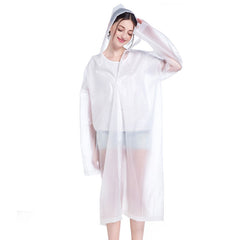 Solid Pattern Nylon Fabric Raincoat For Women - White