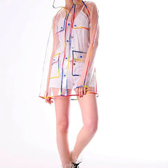 Transparent Solid Pattern Nylon Fabric Raincoat For Women