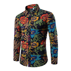 Turn Down Collar Print Pattern Acetate Spandex Cotton Polyester Fabric Casual Shirt For Men- 3