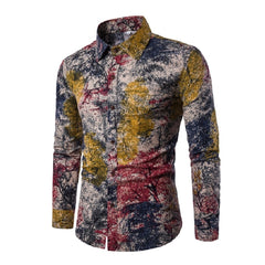 Turn Down Collar Print Pattern Acetate Spandex Cotton Polyester Fabric Casual Shirt For Men- 2