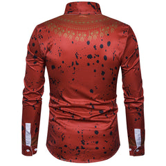 Turn Down Collar Print Pattern Cotton Polyester Casual Shirts For Men- 12