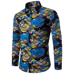 Turn Down Collar Print Pattern Acetate Spandex Cotton Polyester Fabric Casual Shirt For Men- 1