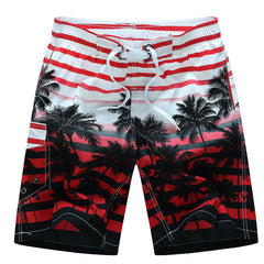 Worsted Fabric Drawstring Closure Print Fashion Pattern Active Style Mid Waist Shorts For Men- Red