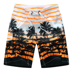 Worsted Fabric Drawstring Closure Print Fashion Pattern Active Style Mid Waist Shorts For Men- Orange