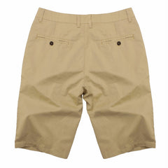 Solid Pattern Zipper Fly Closure Cotton Polyester Fabric Mid Waist Shorts For Men- Khaki